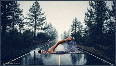Man swimming on Road #MadeWithPicsArt