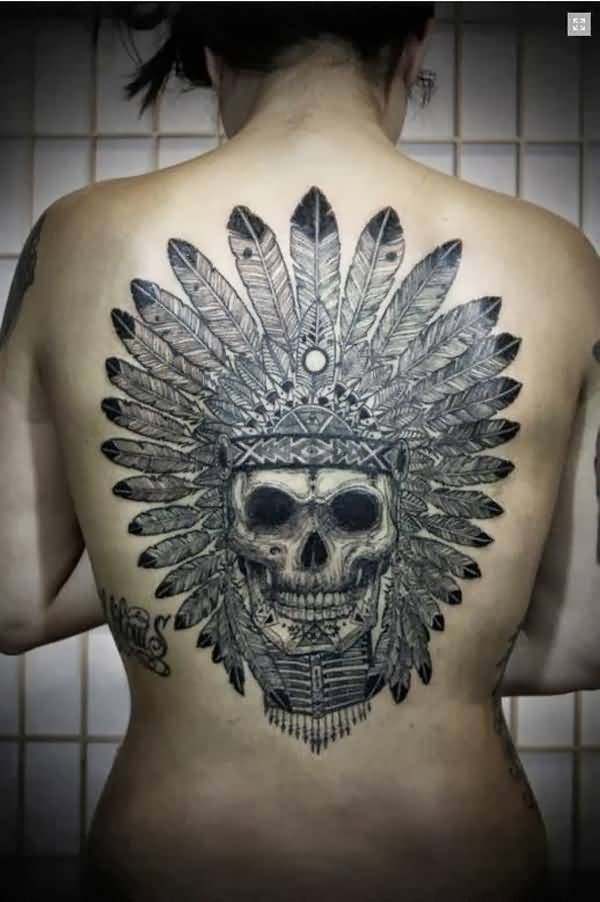 simple Native American Tattoo on back with black ink for man & woman