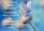 Inspirational Happiness Sayings The secret of being happy is accepting where you are in life and making the most out of everyday