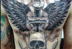 Wings Tattoos With A Head Skull And A Anchor