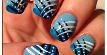 Amazing Light Blue Nails With Tiger Nails Design