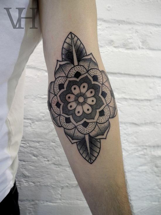 Fabulous Flower Elbow Tattoo Design For Boys