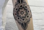 Fabulous Flower Elbow Tattoo Design For Boys