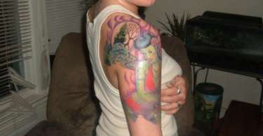 Glowing Graveyard Zombie Girl Tattoo On Shoulder For Girls