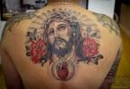 Innovative Jeses Christ Heart Tattoo On Upper Back For Boys