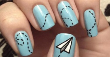 Stunning Airoplane Design Blue Nails