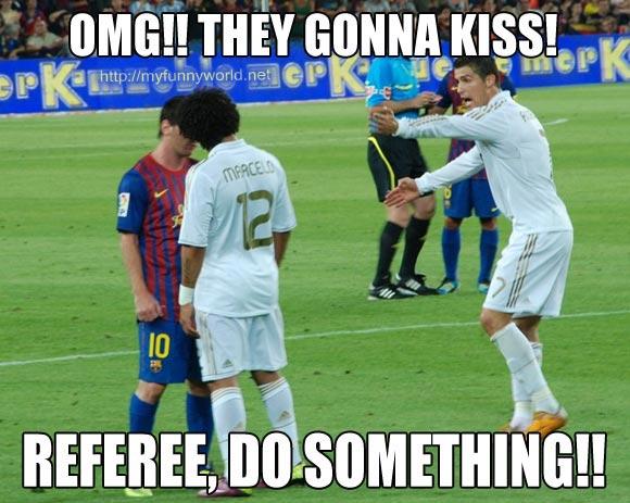 Football Meme Omg they gonna kiss referee do something