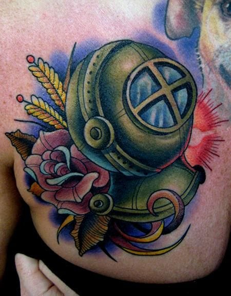 Groovy Diving Helmet Tattoo On Chest