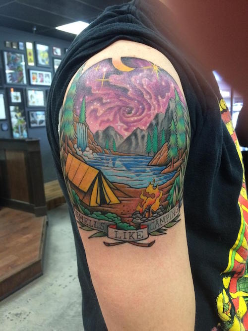 Awesome Camping Tattoos On Shoulder for mens