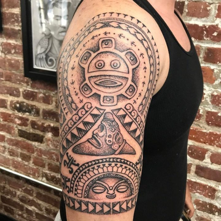 Taino Tattoos Design Ideas On The Boy's Shoulder