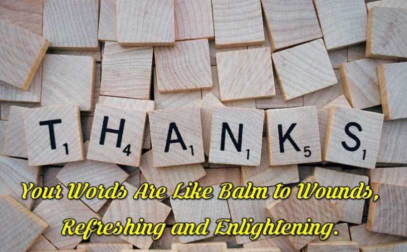 Appreciation Quotes thanks your words are like balm