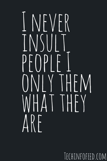 Attitude Quotes i never insult people i only them what they are.