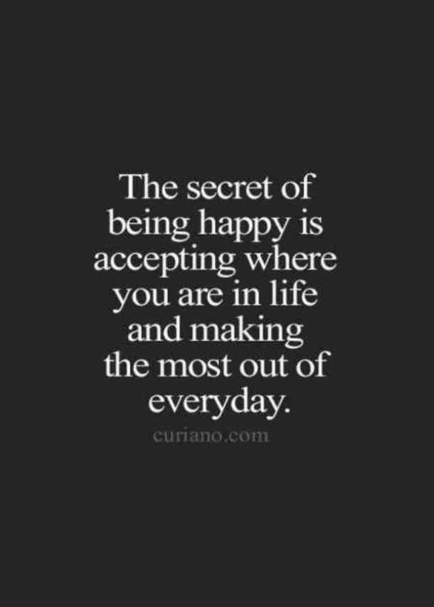 Emotional Quotes the secret of being happy is accepting