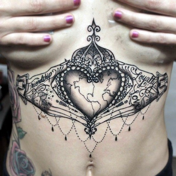 Under boob Tattoo Designs For Women And Girls 0013