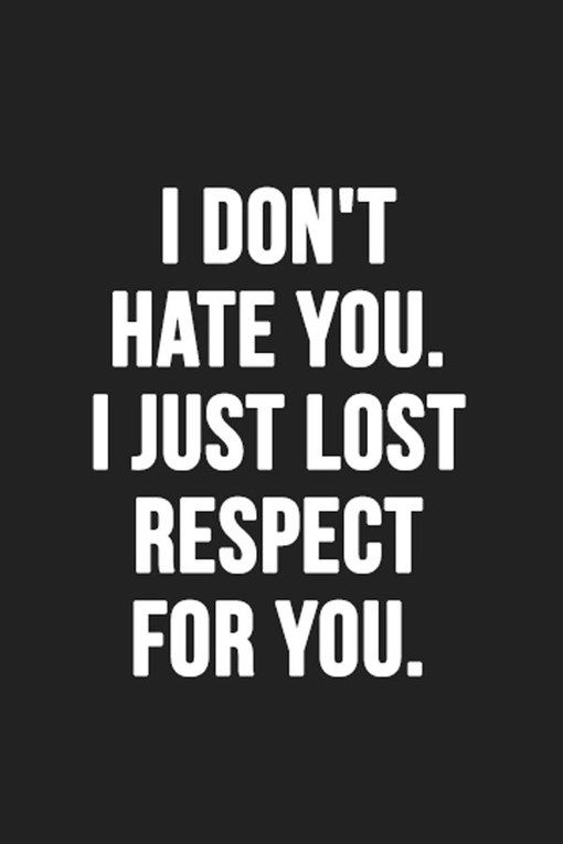 Cheating Quotes & Sayings i don't hate you i just lost repect for you.