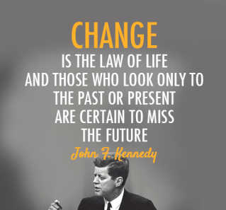 John F. Kennedy Quotes change is the law of life and those who look only to
