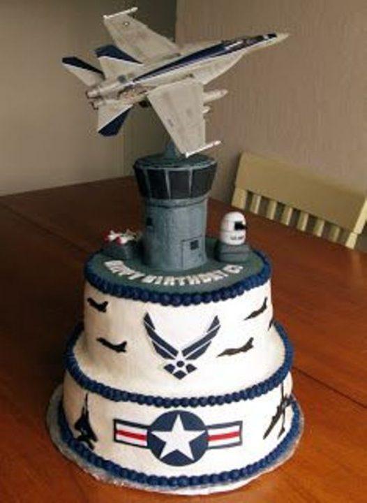 Airforce Birthday CAke with White Cream