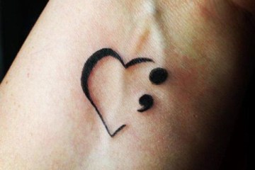 Best Semicolon Tattoo With Beautiful Heart Tattoo
