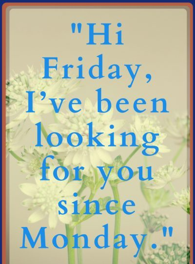 friday quotes hi friday i've been looking for you since monday.