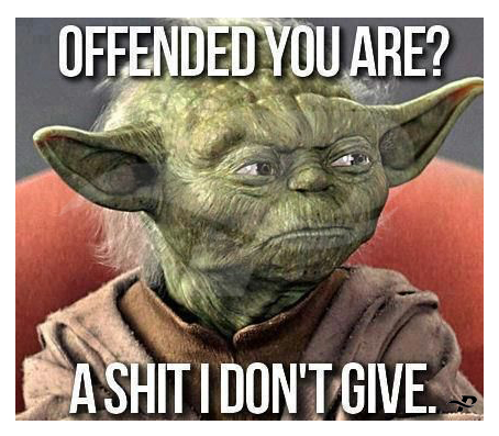 offended you are a shit i don't give funny yoda memes