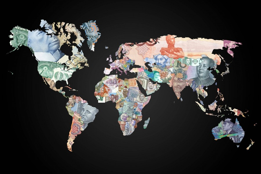 World map currencies   WorldFlag Canvas Canvas print