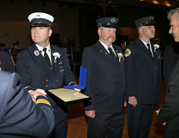 Medal of Honor recipients, Fire Lieutenant Sean M. O'Brien, engine company 7, at left, and firefighter Charles M. Buchanan engine company 24, among others.