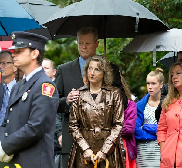 09/11/2015-Boston,MA. Massachusetts Governor Charlie Baker and his wife Lauren are seen at Friday morning's ceremony at the Massachusetts 911 memorial. Staff Photo by Mark Garfinkel