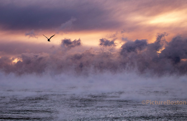 02/14/2016-Winthrop,MA. Seasmoke rises above the Atlantic as Boston temperatures dipped to several degrees fahrenheit below zero Sunday morning. Staff photo by Mark Garfinkel