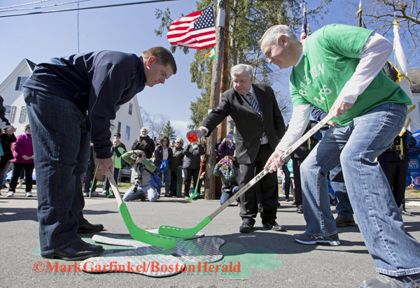 04/09/2016-Boston,MA. Mayor Martin J. Walsh participates in the annual Shamrock Shootout Street Hockey Tournament, with Ed Coppinger, at far right, State Representative for the 10th Suffolk District, on Temple St. in the West Roxbury section of the city, Saturday morning. Staff photo by Mark Garfinkel