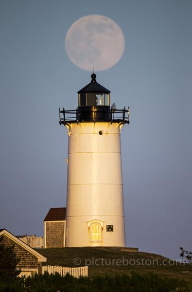 Moonrise over Falmouth's Nobska Light.