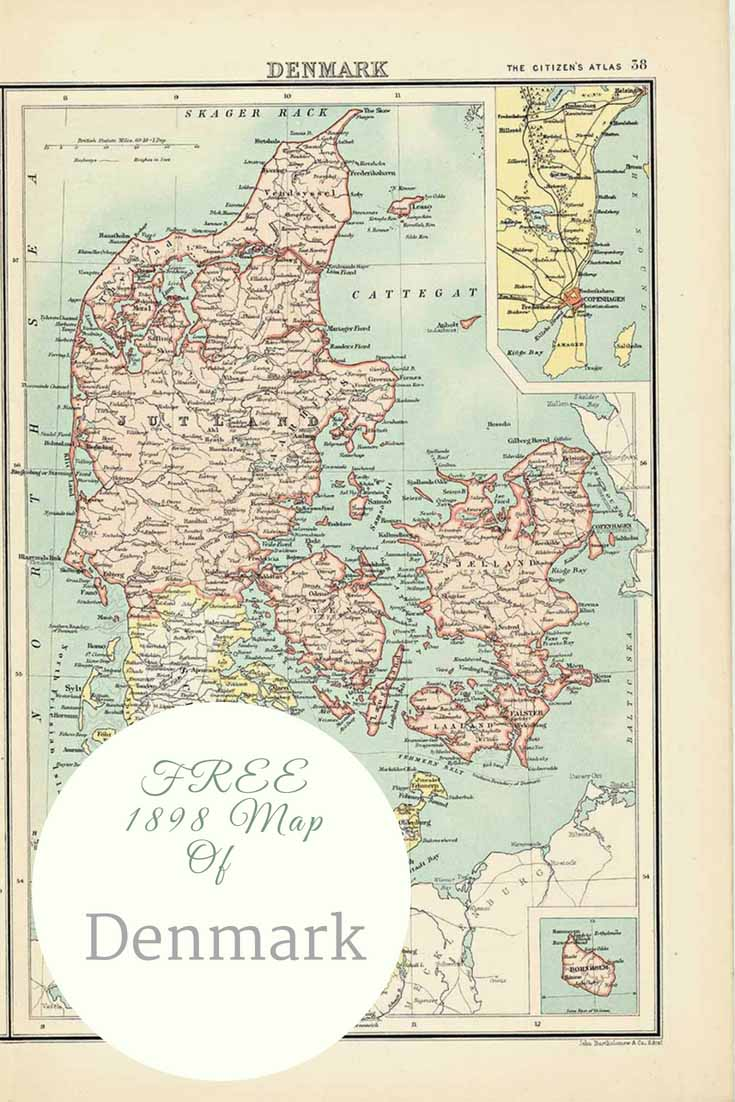Free Old Map of Denmark 1898