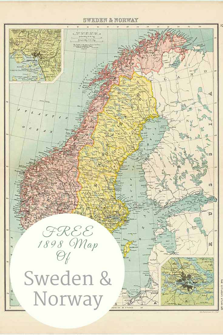 FREE old map of sweden and Norway