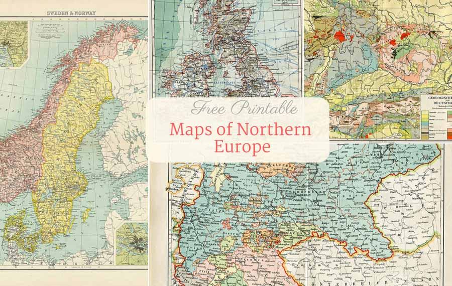 photograph about Free Printable Map of Europe called Free of charge Printable Aged Maps Of Europe (Northern) - Visualize Box Blue