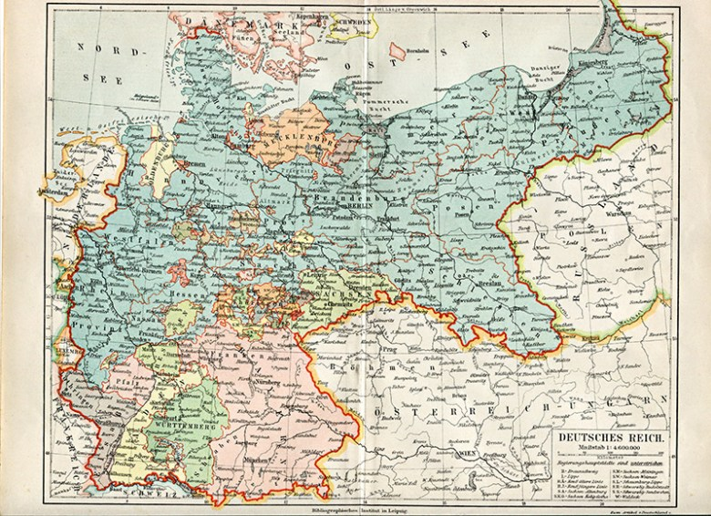 Old Map of Germany in German
