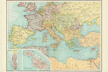 Vintage map of Central Europe & The Mediterranean