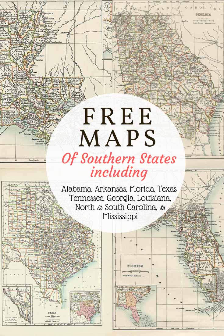 Free 1885 US Southern States Maps