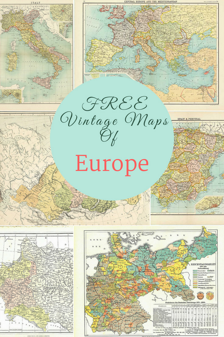 Free Printable Map Of Spain.More Gorgeous Free Vintage Maps Of Europe Picture Box Blue