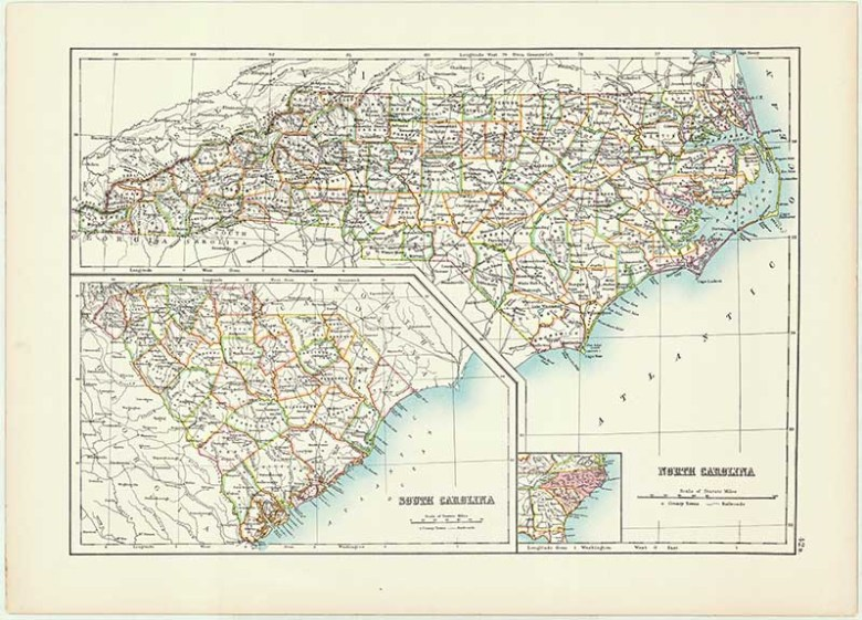Old Map of North & South Carolina State 1885