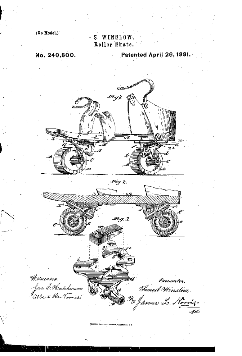 Roller Kate patent art 1881