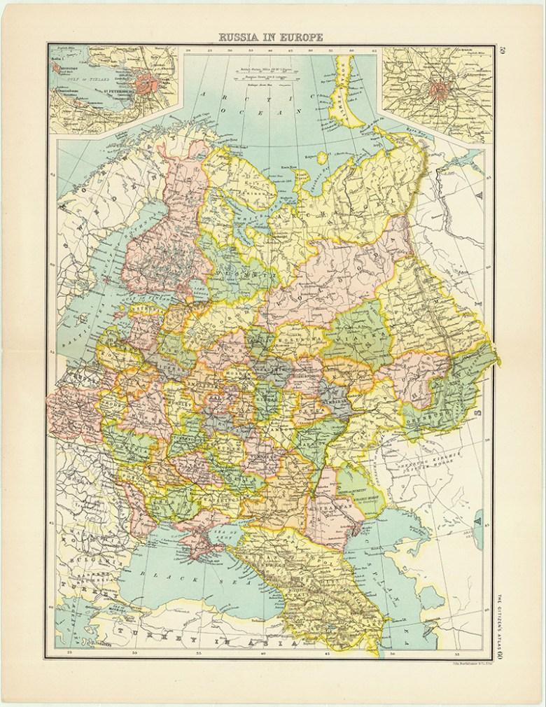 Vintage Map of Russia in Europe Batholemews
