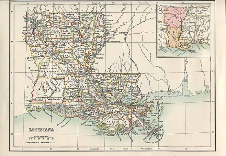 Old Map Louisiana USA