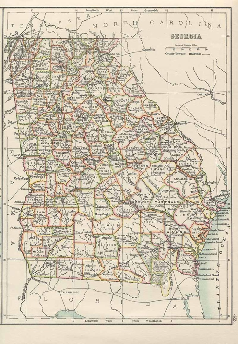 Old Map of Georgia USA