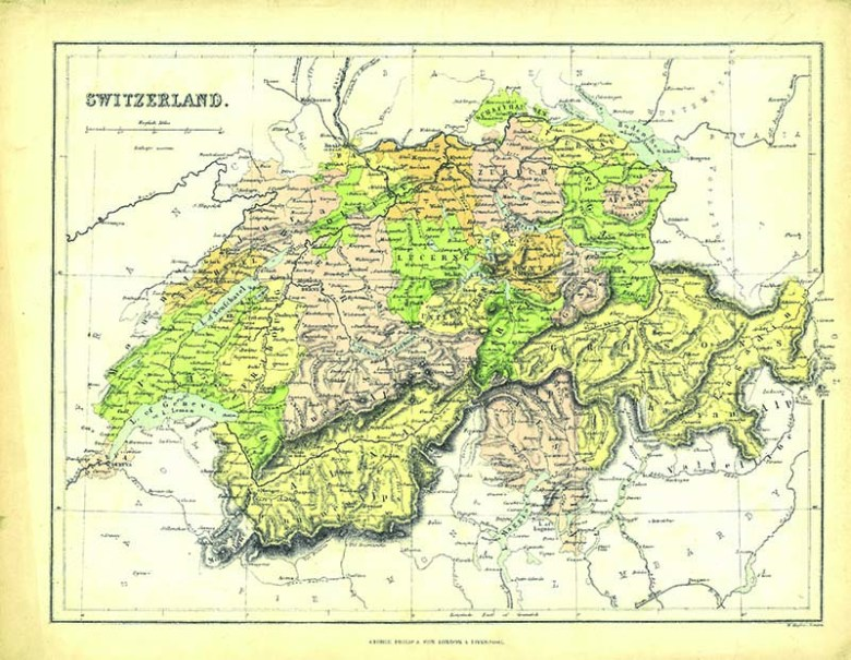 vintage map of switzerland - george phillips and son s