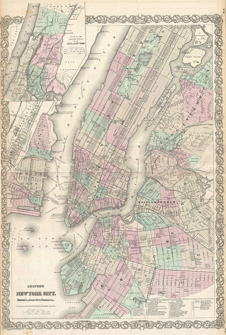 Antique Map of New York City including Brooklyn