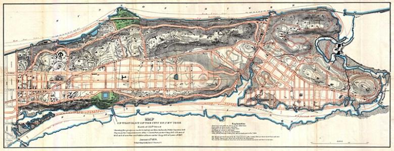 1870 Vintage Map of Upper Manhattan inc Harlam