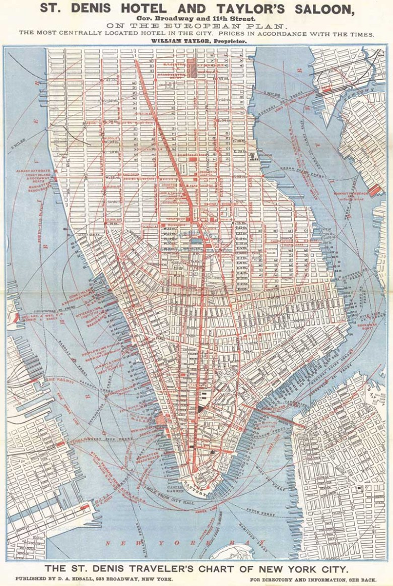 Vintage map of Lower Manhattan free to print