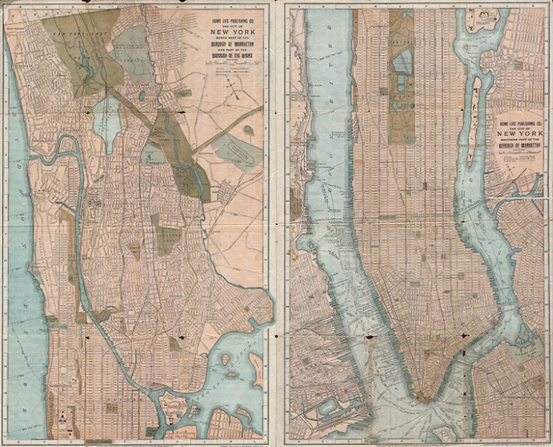 1899 antique map Manhattan and the Bronx