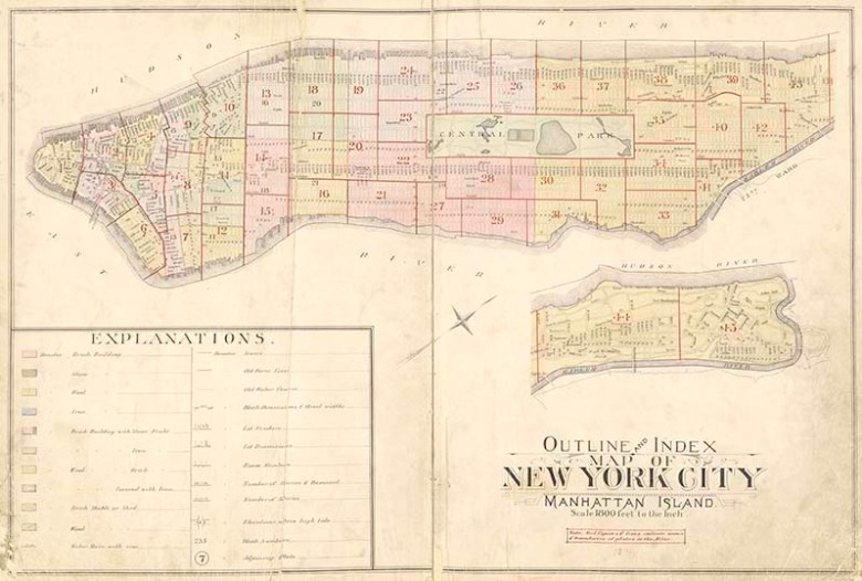 Vintage New York Map Manhattan Island Pictureboxblue