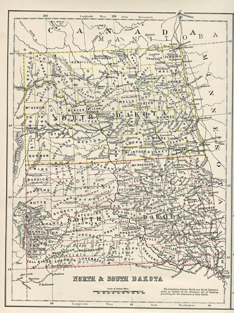 Antique US state map of North & South Dakota