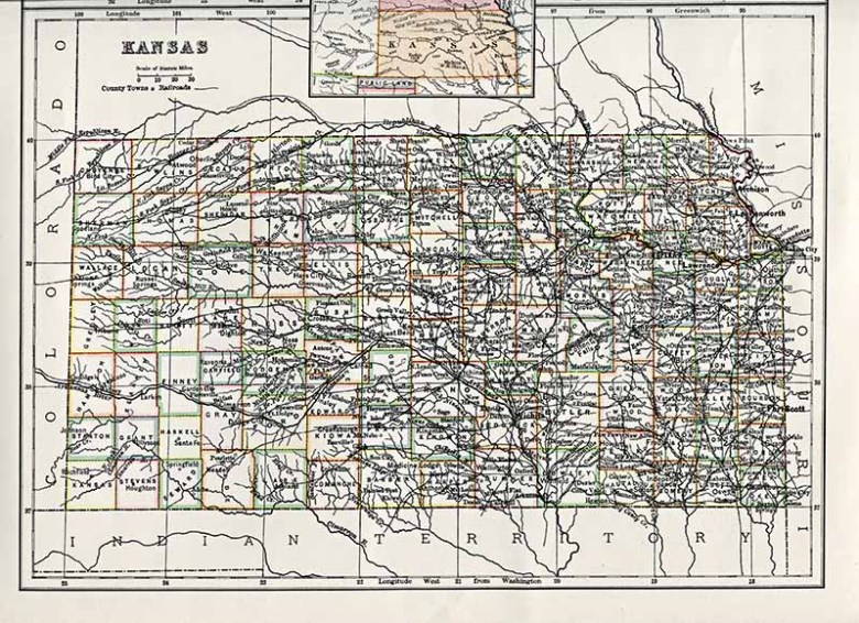 Antique US state maps Kansas
